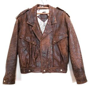 Chia Vintage Retro 80s Brown Moto Aviator Jacket M
